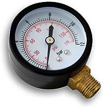 """50mm drukmeter dwz voor drukvat radiaal 1/4"""" 0-12bar 0-180PSI"""