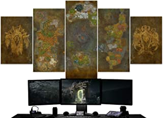 BA-CO World of Warcraft 5 Piece Canvas Wall Art, Azeroth Map Canvas - 64 - Warcraft Canvas - Horde Wall Art - Azeroth Map Wall Decor - Framed Ready to Hang - Warcraft Poster (Small 23