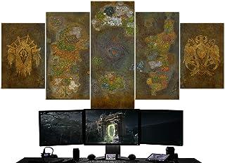 BA-CO World of Warcraft 5 pièces Toile murale Motif carte azeroth 64 Tableau de Warcraft Horde Wall Art Décoration murale ...