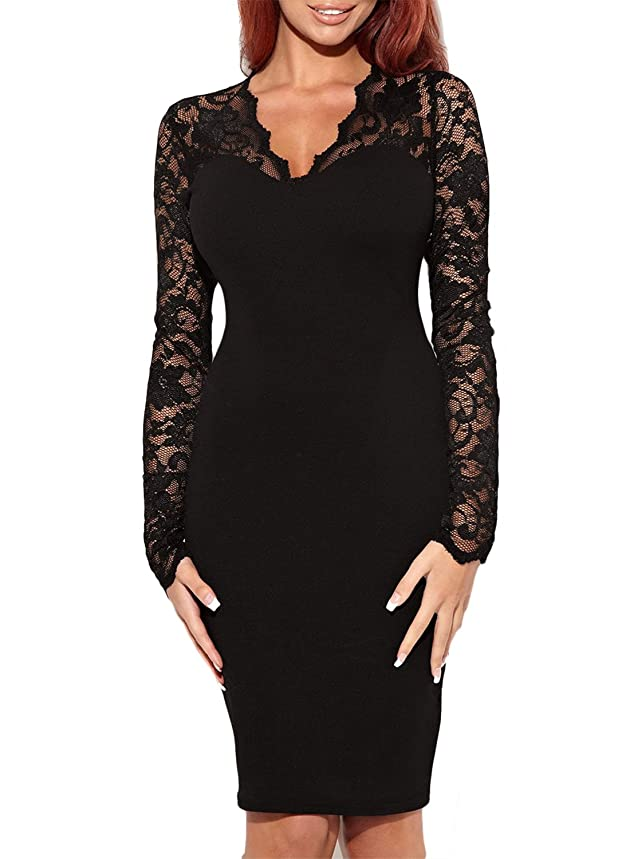 Miusol Women's Vintage Floral Lace Long Sleeves Bridesmaid Midi Dress