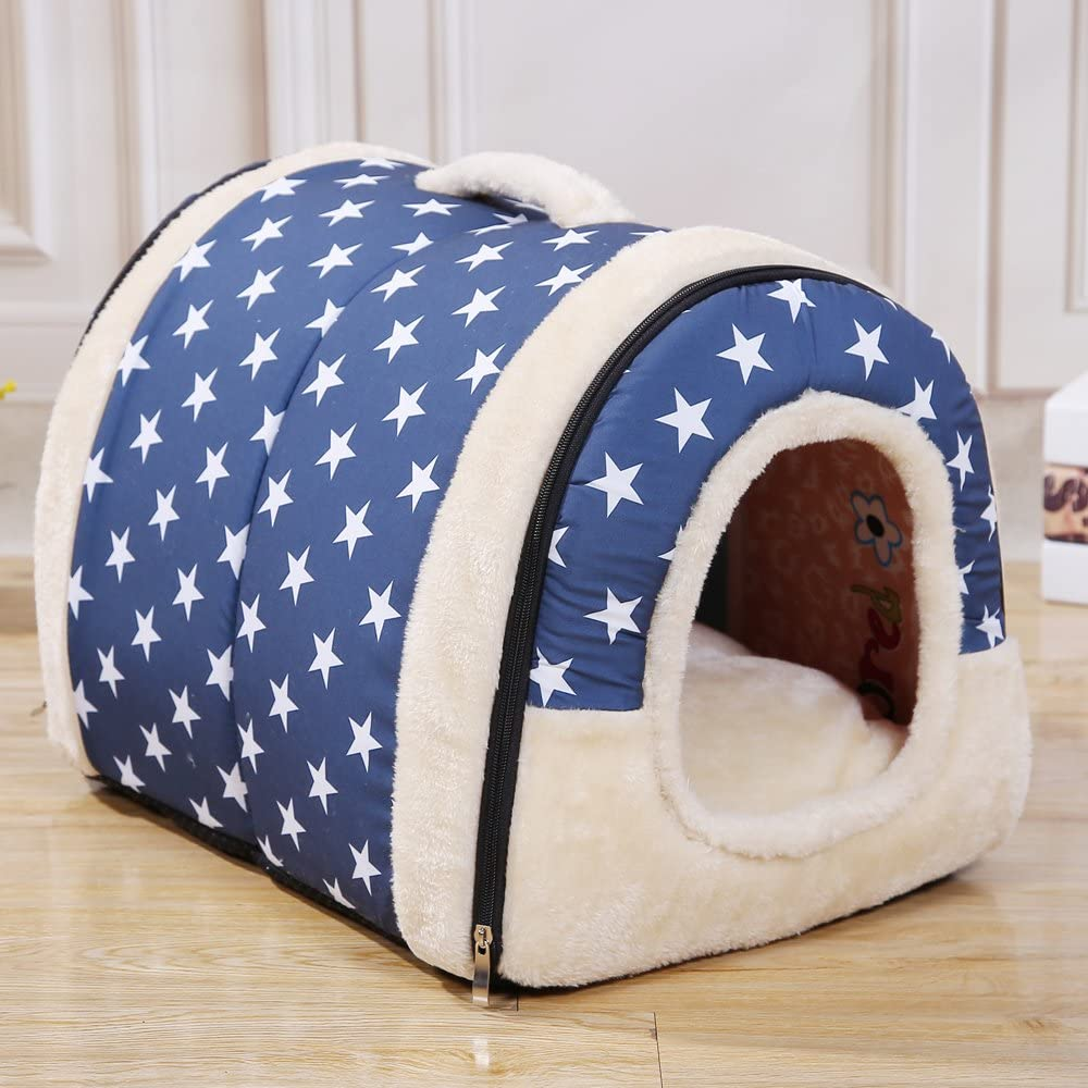 Amazon Com Yohoko 2 In 1 Dog House Nest With Mat Foldable Pet Bed House For Small Dogs Cat Travel Lovely Soft Pet Bag Small Blue Pet Supplies