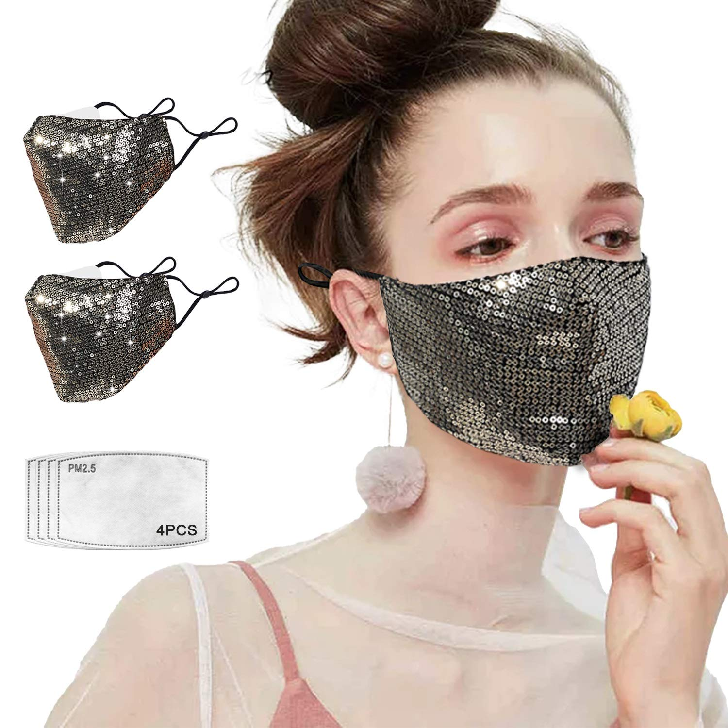 2PCS Sparkly Sequin Face Mouth Mask for Women Girls, Cotton Decorative Party Bling Face Protective Masks with Designs, Shiny Glitter Face Cover Mask with Adjustable Ear Loops with 4 Filters(Gold)