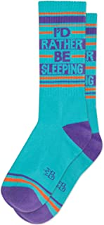 I'D RATHER BE SLEEPING Socks by Gumball Poodle: Make A Statement, Unisex Gym Sock: Aqua, Purple and Red