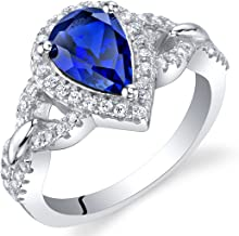 Sterling Silver Halo Crest Ring Sizes 5 to 9 in Various Gemstones
