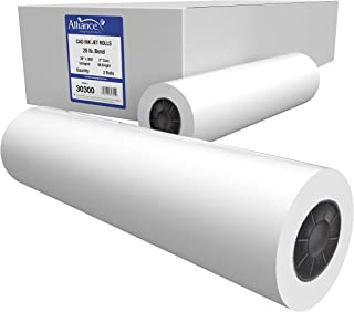 "Alliance CAD Paper Rolls, 30"" x 300', 96 Bright, 20lb - 2 Rolls Per Carton - Ink Jet Bond Rolls with 2"" Core"