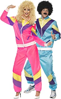 Couples Ladies & Mens 80s 1980s Shell Suit Tracksuit Retro Hen Do Stag Do Fancy Dress Costumes Outfit (Ladies UK 8-10 & Mens Medium) Pink-Blue