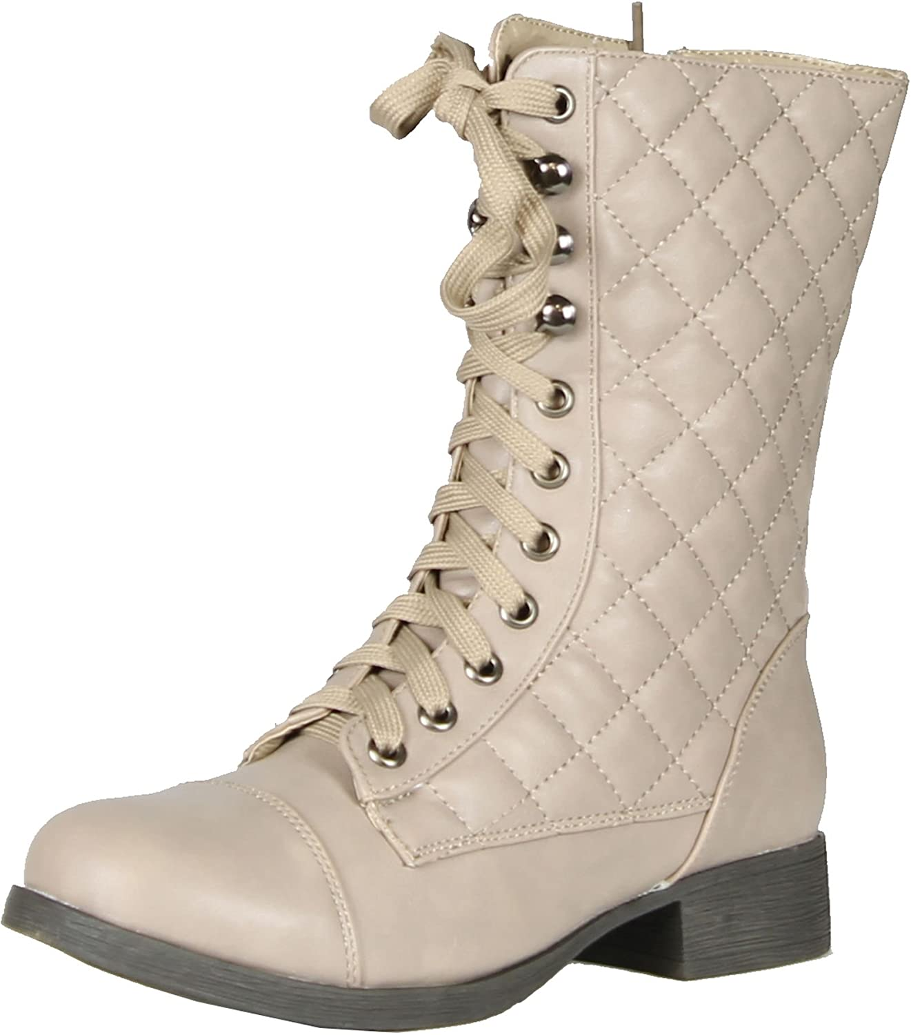 BAMBOO Fighter-16 Women's Quilted Military Lace Up Mid Calf Boots,Stone,6.5