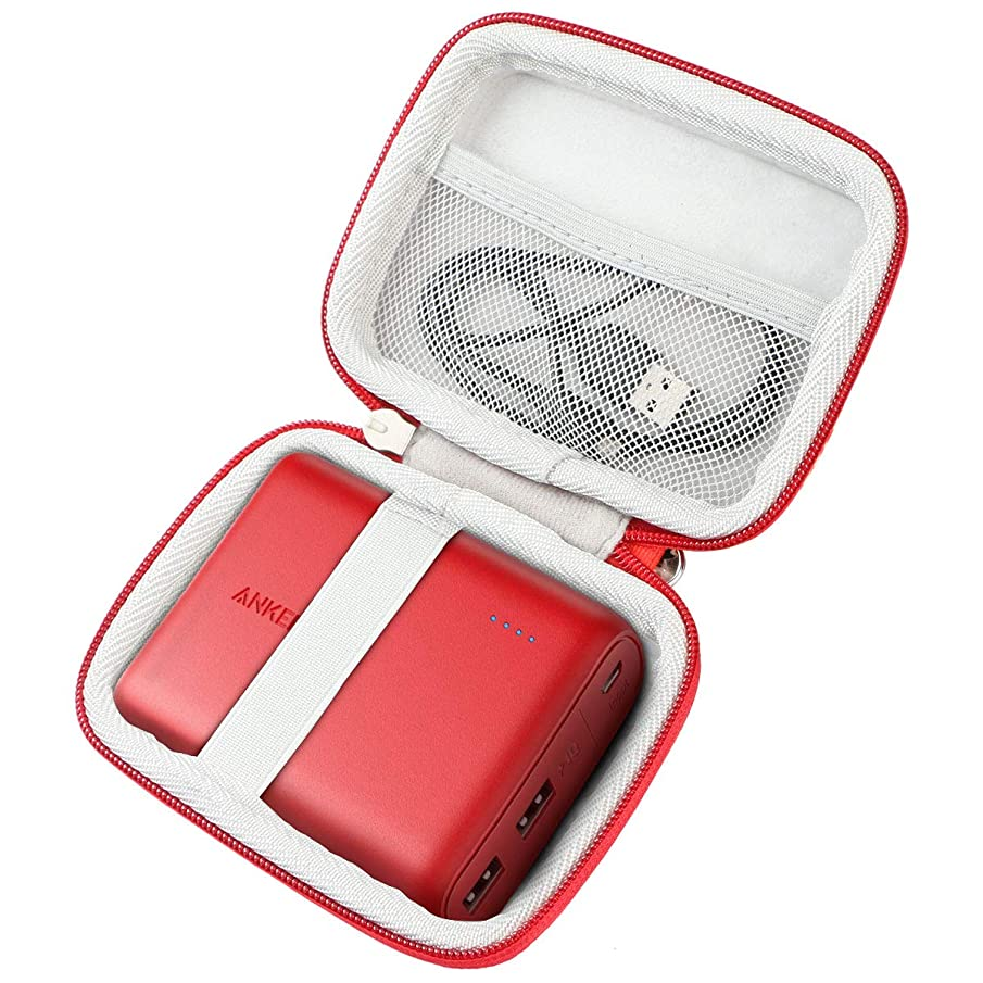 Khanka Hard Travel Case Replacement for Anker PowerCore 13000 13000mAh 10400 Portable Charger 2-Port Ultra Battery Power Bank (red Zipper)