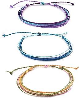 Surfer String Bracelets Anklets Set Waterproof Wax Coated Braided Rope Adjustable Summer Bracelets for Women Men 3Pcs
