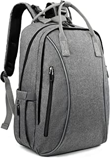 Diaper Bag Backpack Large Baby Nappy Changing Bags with Insulated Pockets and Stroller Straps, Multi-Function Neutral Travel Backpacks for Mom and Dad, Fashion Durable Water-Resistant (Dark Grey)