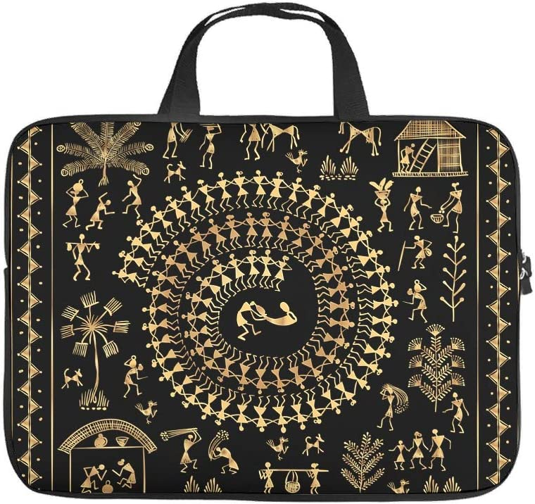 Stylish Laptop Bag Egypt India Mayan Printed Laptop Handbag Water Resistant Polyester Laptop Sleeve with Handle White 10inch