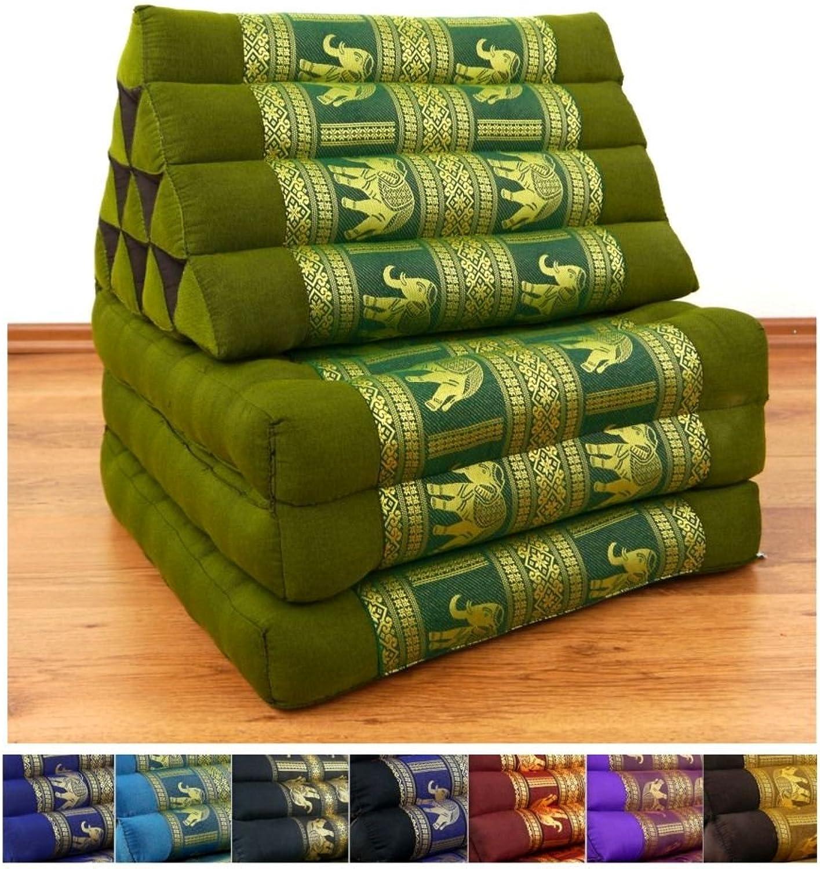 LivAsia 3 Fold Thai Cushion, 67x20x3 inches (LxWxH), Silk Look, 100% Natural Kapok Filling, Foldable Thai Mat with Triangle Cushion, Headrest, Thai Pillow