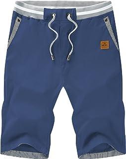 Mens Shorts Casual Comfortable Workout Shorts Drawstring Zipper Pockets Elastic Waist