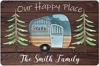 Personalized Our Happy Place Sign Custom RV Camping Decorations for Travel Trailers Metal Wooden Signs Camper Home Art Pla...