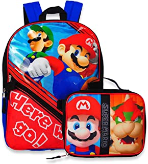 Super Mario Backpack with Insulated Lunchbox - red/blue, one size