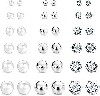 JewelrieShop Earrings Studs Set for Women Girl Stainless Steel CZ Ball Faux Pearl Hoop Hypoallergenic Silver Multiple Ear Stud Earing for Men