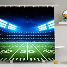 Ahawoso Shower Curtain Set with Hooks 60x72 Activity Sports Football Champion Sport Post Kick Green Recreation Outdoors Textures Tee Leisure Waterproof Polyester Fabric Bath Decor for Bathroom