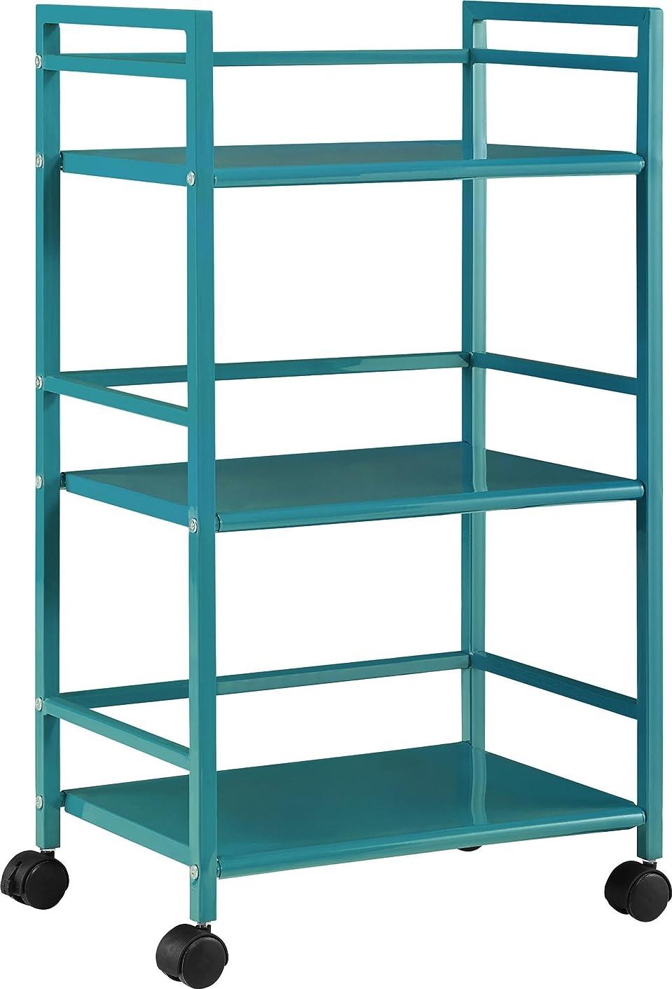 Ameriwood Home 7741396PCOM Marshall 3-Shelf Metal Rolling Utility Cart, Teal