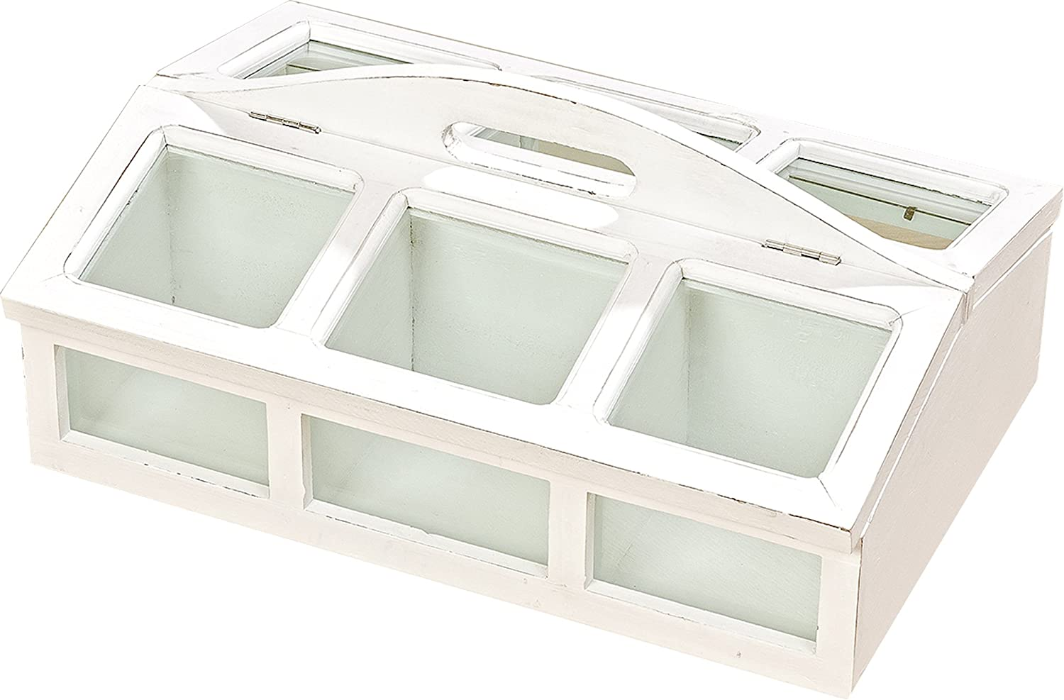 Country Cottage 6 Compartment Tea Organizer and Accessory Box, Glass Windows, Rustic White, Distressed Shabby Finish, Window Lid, Over 1 Foot Long, (16 L x 12 1 4 W x 7 1 2 H Inches) Wood