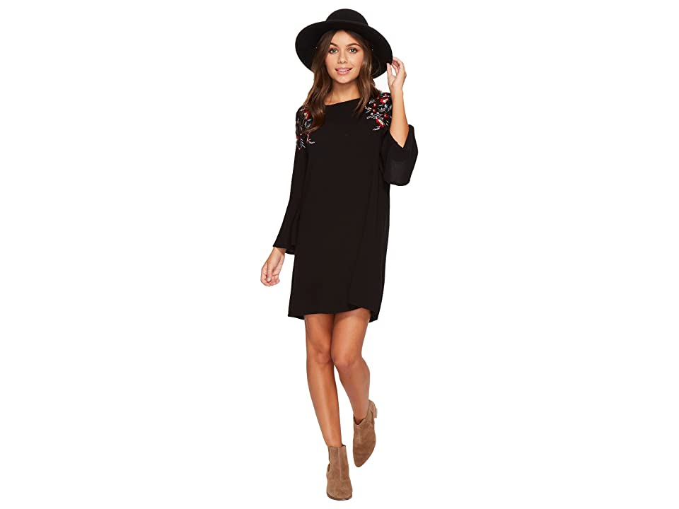 Jack by BB Dakota Pascal Satin-Backed Crepe Bell Sleeve Dress with Floral Embroidery (Black) Women