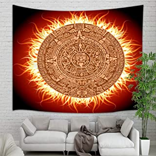 Native American Mayan Calendar Tapestry Wall Hanging, Mystical Aztec Grunge Mandala in Fire Wall Tapestry Art for Home Decorations Dorm Decor Living Room Bedroom Bedspread, 60