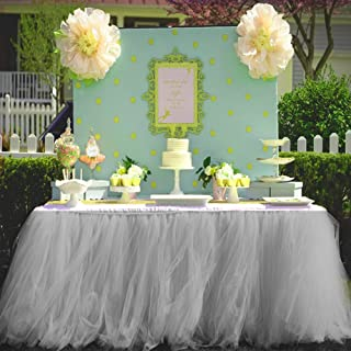 Haperlare 3ft Gray Tulle Table Skirt Queen Wonderland Gray Tablecloth Tutu Tablecloth Skirting Tutu Table Skirt for Christmas Wedding Party Baby Shower Birthday Cake Dessert Table Decorations 31 x 36