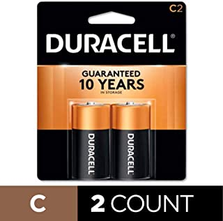 Duracell - CopperTop C Alkaline Batteries with recloseable package - long lasting, all-purpose C battery for household and business - 2 count