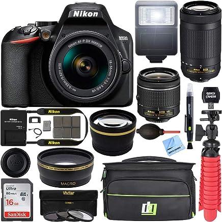 $429 Get Nikon D3500 24.2MP DSLR Camera with AF-P 18-55mm VR Lens & 70-300mm Dual Zoom Lens Kit 1588 (Renewed) with 16GB Accessory Bundle