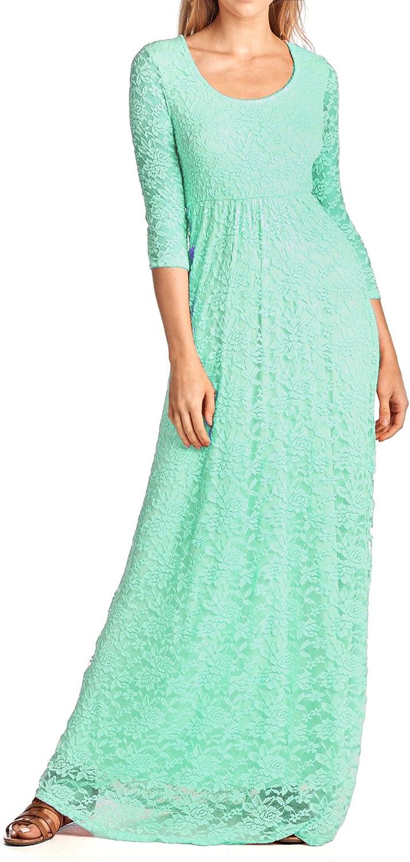 Beachcoco Women's 3 4 Sleeve Long Length Lace Dress