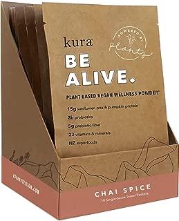 Kura Plant Based Protein Wellness Powder, Chai Spice, 15g Protein, 23 Vitamins & Minerals, NZ Superfoods, Non-GMO, Gluten Free, Stevia Free, New Zealand Born (10 Pack Single Serve Box, 1.2 Ounce)