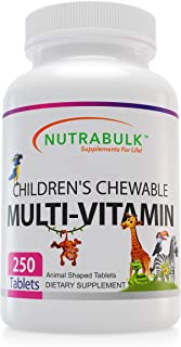 NutraBulk Children's Chewable Multi-Vitamin Tablets for Kids to Support Immune, Bone, and Brain, Contains A...