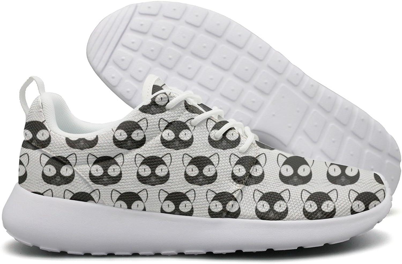 Hoohle Sports Black Cat Face White Background Women Roshe One Flex Mesh Mens Running shoes