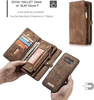 Galaxy S8 Wallet Case, Esing Premium Folio Zipper Purse Leather Cover Cases for Samsung S8 Detachable Magnetic Case with Flip Credit Card Slots Stand Holder (Coffee)