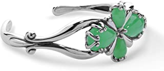 Carolyn Pollack Sterling Silver Blue, Green or Pink Jade Gemstone Four Petal Cross Cuff Bracelet Size S, M or L
