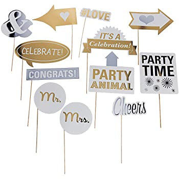 Apparel Accessories Fun Express Costume Props Wedding Party Photo Stick Props for Wedding 12 Pieces Wedding Costume Accessories