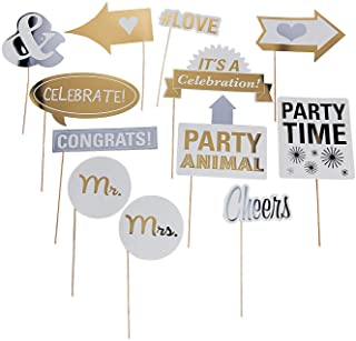 Wedding Reception Pary Photo Booth Stick Props (12 Pack)