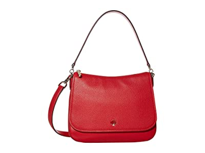 Kate Spade New York Polly Medium Convertible Flap Shoulder Bag (Hot Chili) Bags