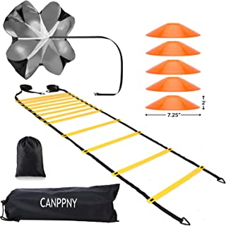CANPPNY Speed Agility Training Kit—Includes Agility Ladder with Carrying Bag, 5 Disc Cones, Resistance Parachute.Use Equip...