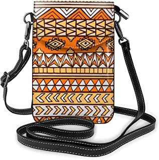 Aztec Maya Ethnic Leather Phone Purse Novelty Cell Phone Pouch Wallet Shoulder Strap Handbag Key Holder