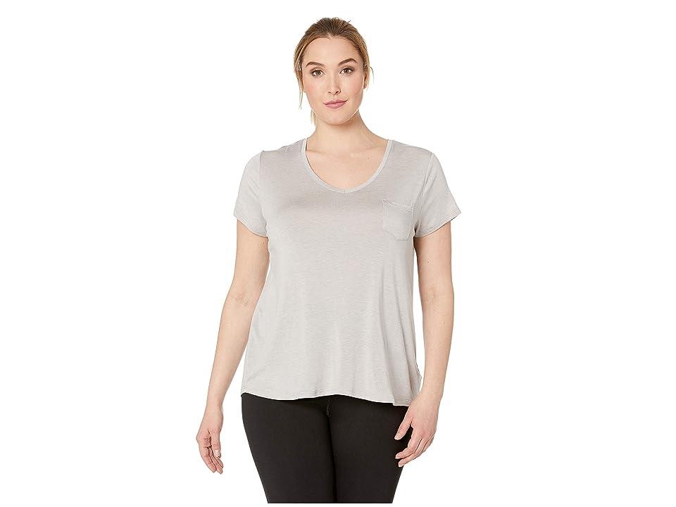 Prana Plus Size Foundation Short Sleeve Top (Light Grey Heather) Women