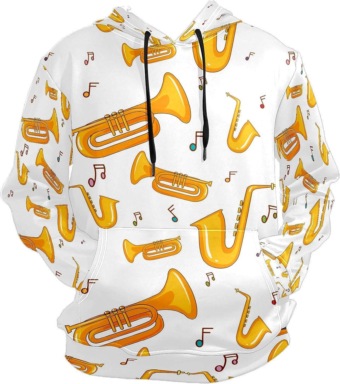 Saxophone Music Note Mens Sport Hoodie Big and Tall Hoodies for Men Women Oversized Hooded Sweatshirt Hip Hop Pullover Hoodie Midweight Hood for Boys Girls