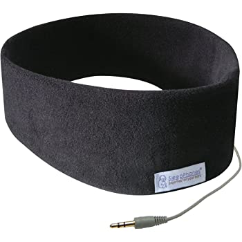 AcousticSheep SleepPhones Classic | Corded Headphones for Sleep, Travel, and More | The Original and Most Comfortable Headphones for Sleeping | Midnight Black - Fleece Fabric (Size M)