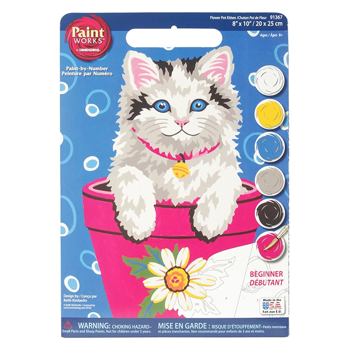 Dimensions Flower Pot Kitten Paint by Numbers for Beginners, 8'' W x 10'' L