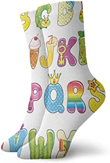 BEDKKJY, Calcetines Deportivos Serwetki ALFABET Calcetines Deportivos Especiales para Mujeres Calcetines para niños