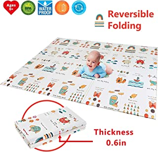 "Folding Kids Play Mat |【Easy to Clean, Fold Up】Non-BPA Non-Toxic Foam Baby Playmat 79"" x 70"