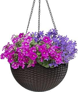 Sorbus Hanging Planter Round Self-Watering Basket, Resin Woven Wicker Style Flower Pot, Indoor/Outdoor Great for Home, Garden, Patio - Espresso Brown (Medium)