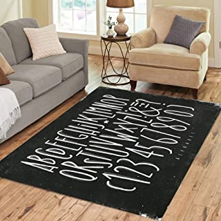 Semtomn Area Rug 5' X 7' Chalkboard Alphabet Straight Lines in Vintage Drawing Chalk Home Decor Collection Floor Rugs Carpet for Living Room Bedroom Dining Room