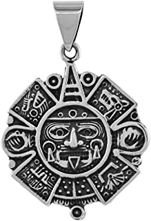 Sterling Silver Heavy Aztec Calendar Necklace Handmade 1 3/4 inch Round 2mm Round Box