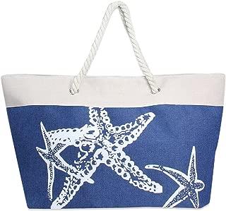 Me Plus Summer Large Beach Tote Bag Zipper Closure Braided Rope Handles Inner Pocket