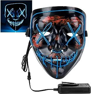 Xddias Halloween Maske, LED Horror Purge Maske mit 4 Blitzmodi für Halloween Fasching Karneval Party Kostüm Cosplay Dekoration (Blau)